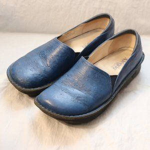 Alegria Blue Floral Embossed Leather Loafers 41